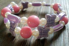 Sladučký náramok v bielo-ružovo- fialovom ladení :) Pozostáva z ružových a bielych perličiek, fialovo pásikavých oválok a motýlikov.  Univerzálna veľkosť, bez zapínania. Stud Earrings, Jewelry, Jewlery, Jewerly, Stud Earring, Schmuck, Jewels, Jewelery, Earring Studs