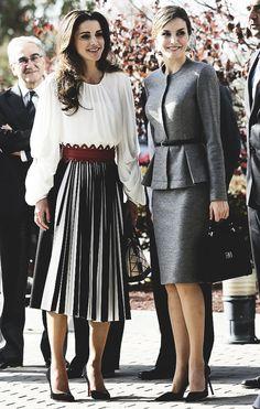 "smrletiziaofspain: "" ""Queen Letizia and Queen Rania visit the Center of Molecular Biology Severo Ochoa, Madrid 11.20.2015. "" """