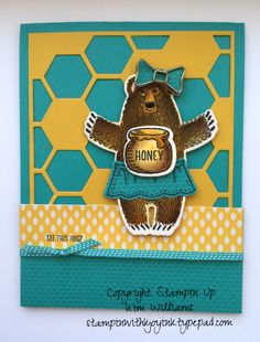 Stampin Up Bear Hugs stamp set- Occasions Catalog 2016 and matching Bear Hugs framelits. Watercolor and aqua painter technique. I used crystal effects and the Hexagon Hive thinlit and Bear Hugs framelitsl I love the new Bow paper clip and the Have a Cuppa designer series paperIMG_5889