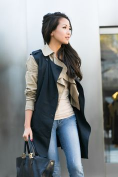 Sleeveless trench & Linen cropped jacket