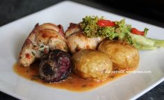 Fennel Sausage Stuffed Chicken Thighs with Salt Baked Potatoes and Beetroots