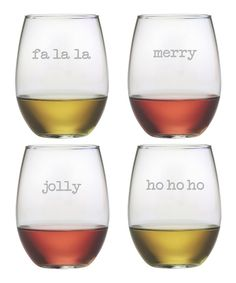 Look at this Fun Christmas Stemless Wine Glass - Set of Four on #zulily today!