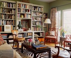 beautiful bookcase, central to the room