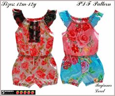 5Berries Charlotte Girls Romper PATTERN, PDF Sewing Patterns for Children, baby, toddler. $6.90, via Etsy.