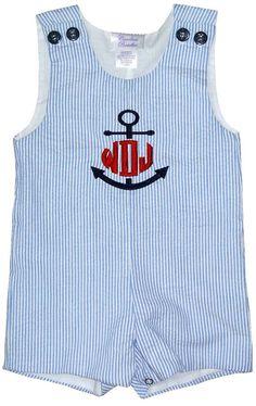 Custom MONOGRAMMED Anchor Boy's John John Romper in Blue Stripe Seersucker on Etsy, $49.95