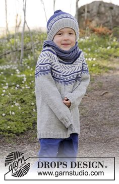 Little Adventure jumper with round yoke and multicoloured pattern by DROPS Design. Free knitting pattern