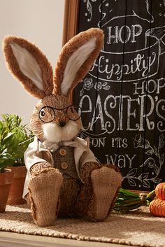 Dressed in his Sunday best, Pier 1's dashing, handcrafted Natural Specs Rabbit has soft, bendable ears and sports a pair of specs—the better to observe your springtime celebrations.