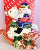 Fitz & Floyd Christmas Nutcracker Sweets Rocking Horse Candy Jar