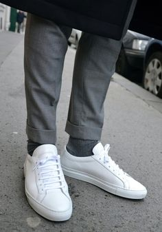 Grey + white sneakers.  There really sin't a way to keep these bright white.  Learned the hard way in the 80s.