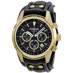 Fossil Coachman black and gold tone