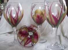 Wine glass/goblet Handpainted Gold and by simplethingsbykathy, $35.00