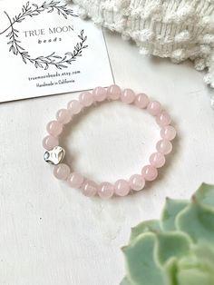 Rich Color Aquamarine Sponge and Rose Quartz Matte Black Onyx Pastel Natural Healing Stone Stretch Distance Bracelet The Pair