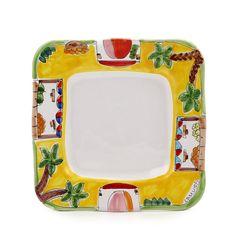LA MUSA: Square Salad Plate with wavy freeform rim Mercato Sicilian Farmer Market