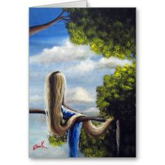 Whimsical fantasy art - Rapunzel Greeting Birthday Card - Fairy Tale by Erback
