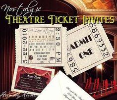 QTY 60 Movie Ticket Wedding Invitations Movie Theme Reception Cards | Handykane - Seasonal on ArtFire