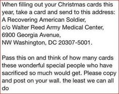Address for sending Christmas cards to recovering American Soldiers. Look Here, Give It To Me, How To Make, Things To Know, Fun Things, Simple Things, Awesome Things, Girly Things, Good To Know