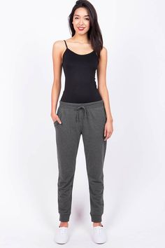Soft and comfy drawstring pants with pockets on the side. Perfect for any casual day and also works well for a day at the gym! *Machine Wash Cold Spandex cm Top t Pajama Outfits, Sporty Outfits, Cute Outfits, Fashion Outfits, Lazy Outfits, Girl Fashion, Best Joggers, Jogger Pants Outfit, Calvin Klein