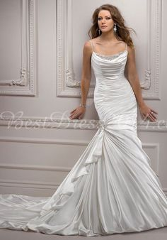 Satin Spaghetti Straps Mermaid Sleeveless Chapel Train Wedding Dress With Beading & Ruching