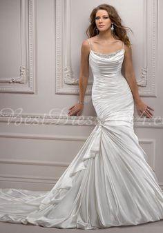 Satin Spaghetti Straps Mermaid Sleeveless Chapel Train Wedding Dress With Beading & Ruching