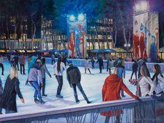 """Bryant Park Skates,"" Bruce Braithwaite, oil on canvas, 18 x private collection. Bryant Park, Bank Of America, New Series, Winter Sports, New York City, Oil On Canvas, Skates, Nyc, Studio"