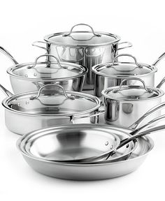 Calphalon Tri-Ply Stainless Steel 13 Piece Cookware Set - Cookware - Kitchen - Macy's 400 There are some really good cookware sets availble from cooking magic. Cast Iron Cookware, Cookware Set, Calphalon Cookware, Induction Cookware, Pots And Pans Sets, Kitchen Must Haves, Kitchenware, Tableware, Stainless Steel Appliances
