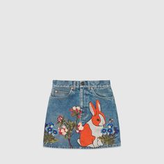 Gucci Embroidered stained denim mini skirt