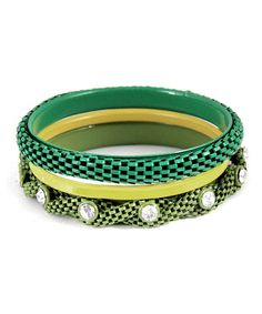 This Green & Yellow Textured Bangle Set is perfect! #zulilyfinds