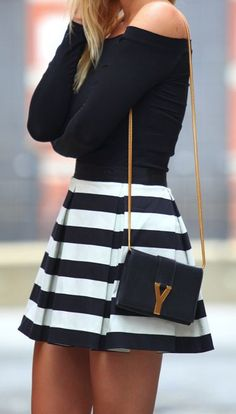 #street #fashion black and white skirt + black long-sleeve top @wachabuy