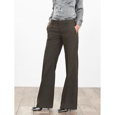 Banana Republic Womens Olive Pintuck Wide Leg Pant ($118) ❤ liked on Polyvore featuring pants, new olive, petite, petite short pants, petite pants, olive pants, banana republic and long pants