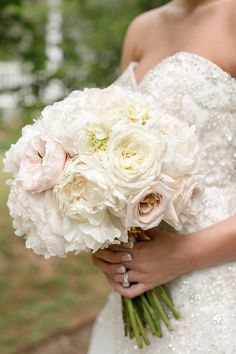 Pastel rose and peony wedding bouquet -pale pink and white roses and peonies {Photo Love Photography}