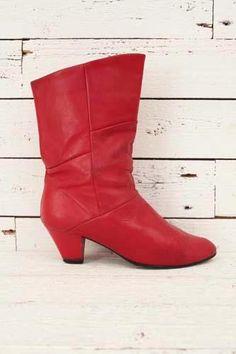 red 1980's boots http://www.sugarsugar.nl/vintage-schoenen-c-35.html