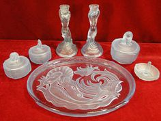 188) Very fine Art Deco Walther Sohne Blue Nymph Mermaid seven piece glass dressing table vanity set consisting of candlesticks, ring dish, lidded containers all set on the erotic matching trayEst. £120-£150