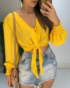 V-Neck Knot Buttoned Shirring Cuff Blouse Shop- Women's Best Online Shopping - Offering Huge Discounts on Dresses, Lingerie , Jumpsuits , Swimwear, Tops and More. Estilo Fashion, Ideias Fashion, Blouse Styles, Blouse Designs, Blouse Patterns, Trendy Outfits, Fashion Outfits, Womens Fashion, Fashion Blogs