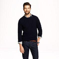 Wool-cashmere solid waffle sweater - fine wool - Men's sweaters - J.Crew