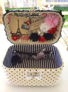 box for wedding cards Decorated train case without key, mirror or tray, upcycled and decoupaged with fabric in black and white with a touch of Paris charm vintage Upcycled recycled train suit case. Decoupage Suitcase, Suitcase Decor, Suitcase Table, Vintage Suitcases, Vintage Luggage, Upcycled Vintage, Vintage Decor, Repurposed, Crafts To Make