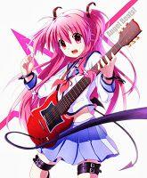 #Devil, #Fang, #Happy, #Jewelry, #LongHair, #MusicalInstrument, #PinkHair, #RedEyes, #Seifuku, #Tail, #Wings