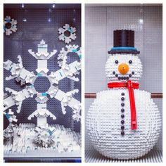 Day 8 & 9 of the giant sized #LEGO Advent Calendar in London, UK featured a frosty snowman and a very detailed snowflake!