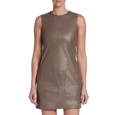 FINAL PRICE❗️Vince Oak Leather Shift Dress super chic and awesome paired with a leather jacket and thigh high boots. Pretty dark green-brown leather and brand new! $895 tags attached. No trades!! 11201559tmr Vince Dresses Mini