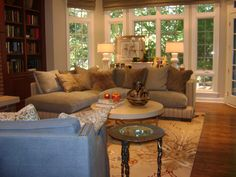 I love the library wall in this living space. #Designer #Home #Decor #Inspirations @DesignerDANN