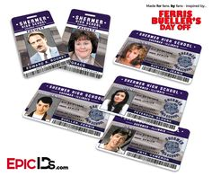 Ferris Bueller's Day Off Inspired Shermer High School ID Collection (Set of 6)