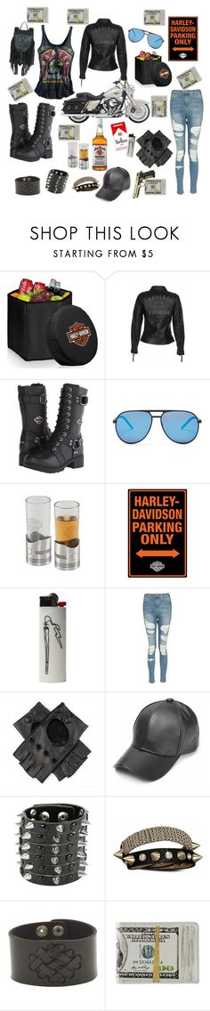 """""""in a clubhouse mood"""" by alexandragabriellesabins ❤ liked on Polyvore featuring Picnic Time, Harley-Davidson, Jim Beam, Topshop, Black, Hot Topic and Bling Jewelry"""
