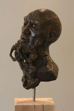Bronze or a choice of Material #sculpture by #sculptor Rogier Ruys titled: 'LAO TZU ~ Portait (Bronze Portrait Head Bust sculpture statue statuette)'. #RogierRuys