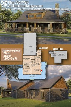 Rustic Country Ranch House Plan 70679MK gives you 1800+ sq ft of living space with 2 bedrooms and 2 or 3 Full baths with an optionally finished bonus room. ADHousePlan #70679MK #adhouseplans #architecturaldesigns #houseplans #homeplans #floorplans #homeplan #floorplan #houseplan