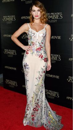Lily James in a lingerie-inspired Alexander McQueen floral dress Alexandre Mcqueen, Pride And Prejudice And Zombies, Evening Dresses, Prom Dresses, Lily James, Celebrity Red Carpet, Fashion Gallery, Red Carpet Fashion, Beautiful Gowns