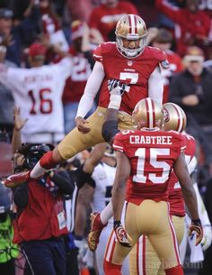 e34be886a San Francisco quarterback Colin Kaepernick reacts after his touchdown in  the fourth quarter on November 2012 at Candlestick Park in San Francisco