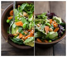 Edamame, Avocado, Carrot, Chickpea, Brown Rice and Goat Cheese Salad with Cilantro-Honey-Lime Dressing | Naturally Ella