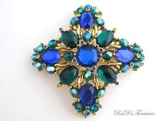 Signed JOAN RIVERS Blue Green & Yellow Rhinestone & CAB Maltese Cross BROOCH