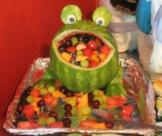 Coolest creation i've seen for fruit yet! what a great piece to add to the food table! I think it would be the talk of the party!