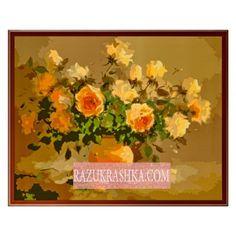 Раскраска по номерам Menglei «Букет персиковых роз». Купить за 1100 р. в магазине Разукрашка.
