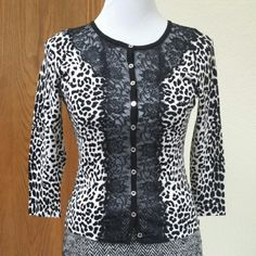 WHBM black and white sweater Dressy black and white leopard print and lace cardigan. The lace part is see-through, so you will need a little cami underneath. Goes great with the Rebecca Minkoff skirt I have listed. EUC; though no tags, it looks like it's never been worn. White House Black Market Sweaters Cardigans